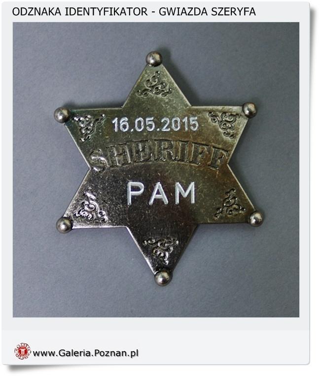 Odznaka identyfikator Szeryf z grawerem
